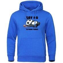 Say No To Doing Things Hoodies Men's Lovely Panda Sleeping Printing Streetwear Autumn Sweatshirt Col
