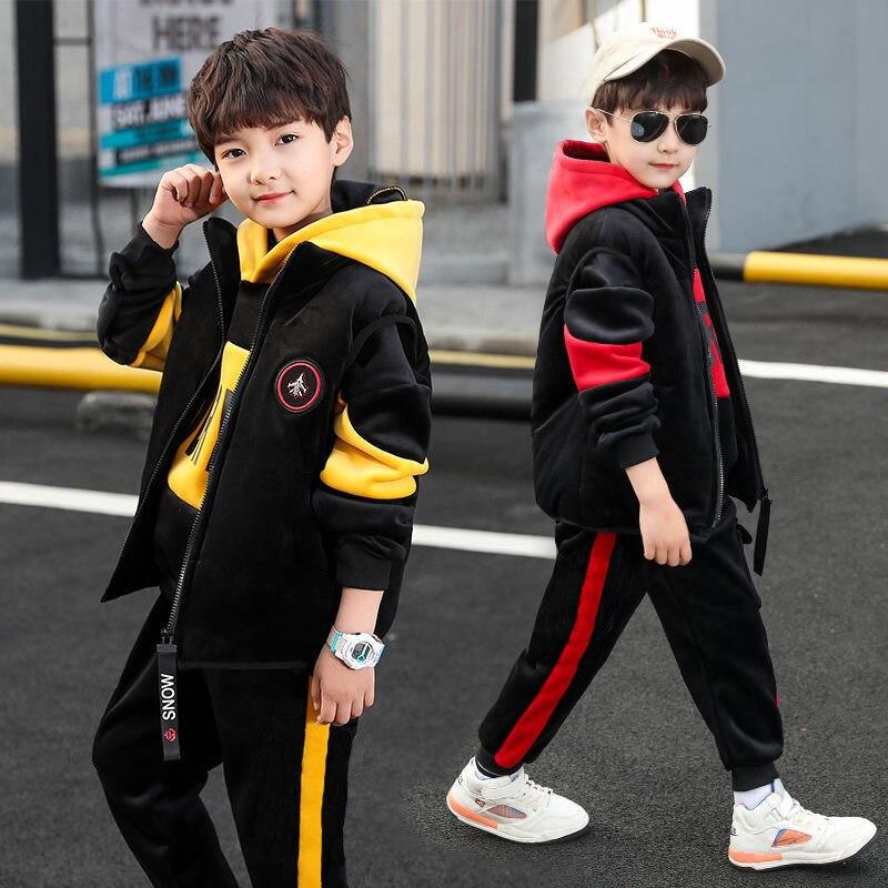 EuerDoDo 3 Pieces/set Boys Clothing Sets Kids Clothes For Teens Children Outfits Vest Hoodies Tops Pants Autumn Winter Suit Warm