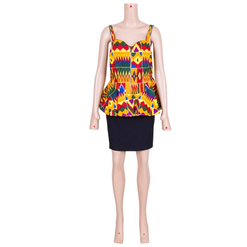 В наличии оптовая продажа одежды для женщин в африканском стиле Стиль в африканском стиле; Топ для женщин вечерние Базен без рукавов размер...