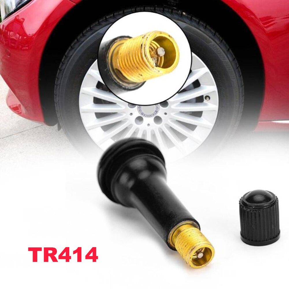 Бескамерные колпачки для клапана шины, 50 шт., запчасти для автомобильных шин, черные резиновые колпачки TR414, Прямая поставка