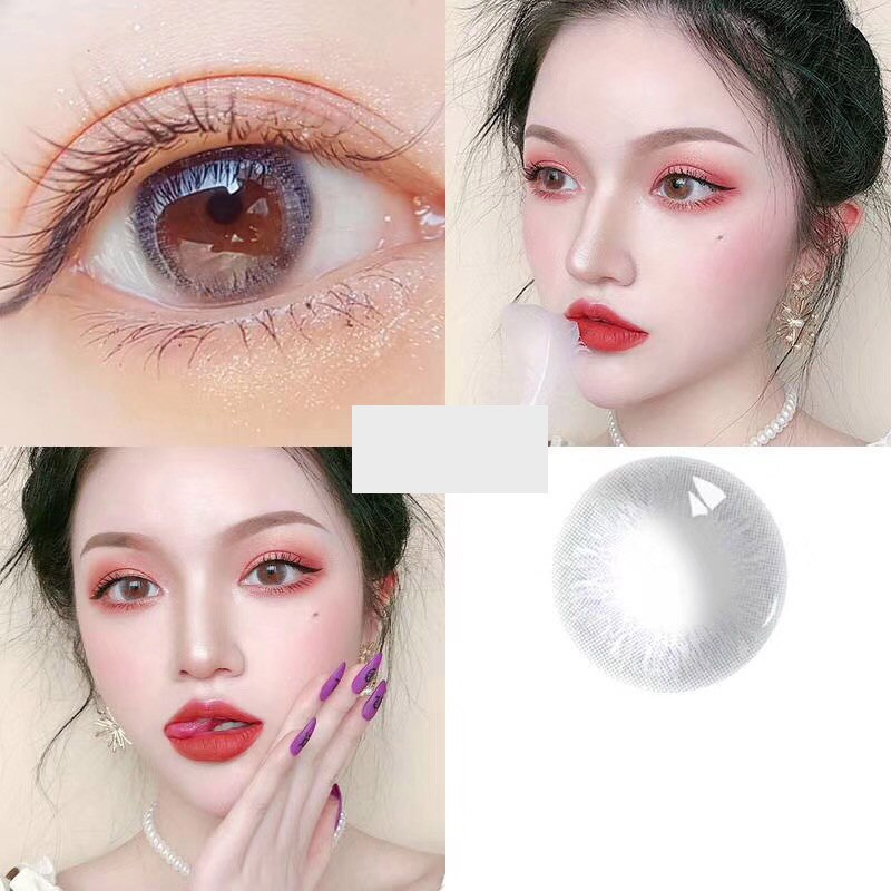 Beleza Coner-2pcs/par ciclo anual liusha macio colorido lentes de contato olho natural cosméticos cor lente contato