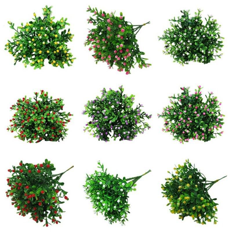 Mini flor Artificial verde simulación Milán ramo pequeño flores de plantas de plástico para decoración de boda hogar Oficina fiesta