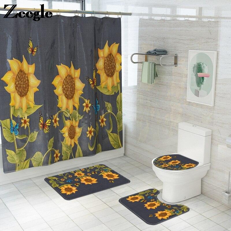 Girassol impresso tapete de banho e cortina de chuveiro tapete do banheiro tapete do banheiro microfibra pastoral chuveiro tapetes pé
