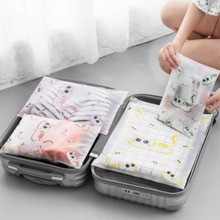 Transparent Clothes Storage Bag Luggage Waterproof Storage Bag Cute Cat Print Plastic Travel Organiz