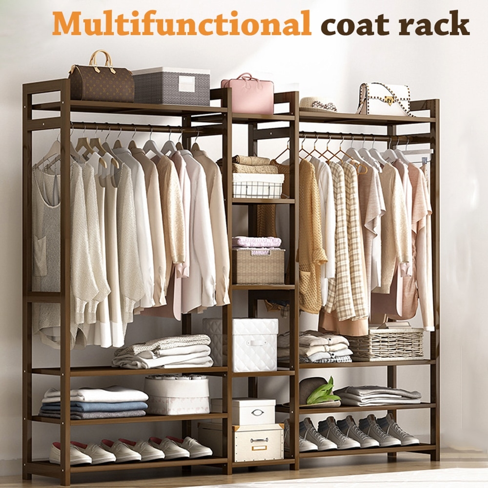Вешалка для одежды, многофункциональный напольный стеллаж для одежды из массива дерева, шкаф для одежды, мебель для гостиной