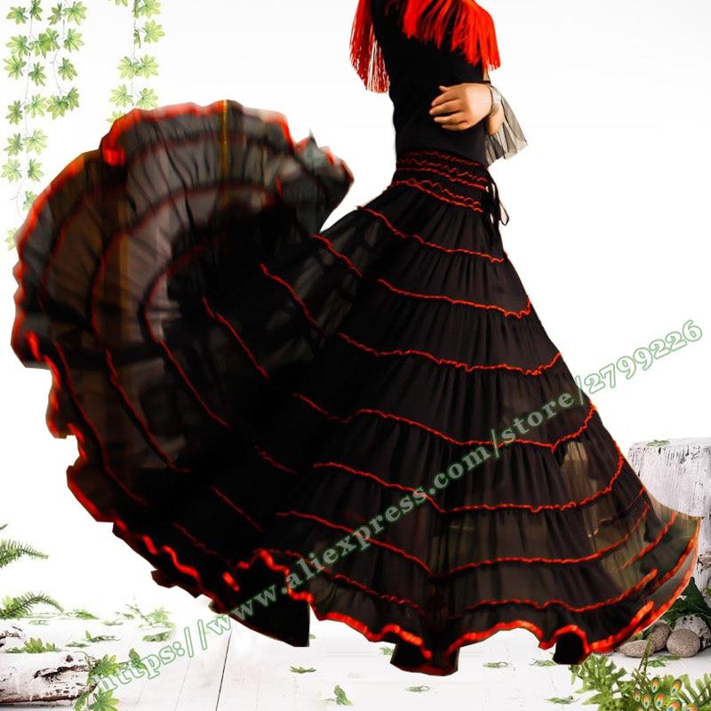 2019 Bohemia Casual Dance Summer Plus tamaño grande 7XL 8XL negro gasa tul gitano bohemio plisado femenino largo señoras falda diseños