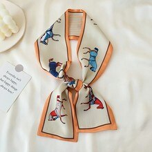Internet Celebrity Small Strip Short Scarf Female Korean-style Versatile Decorative Scarf Arm Bag Ha
