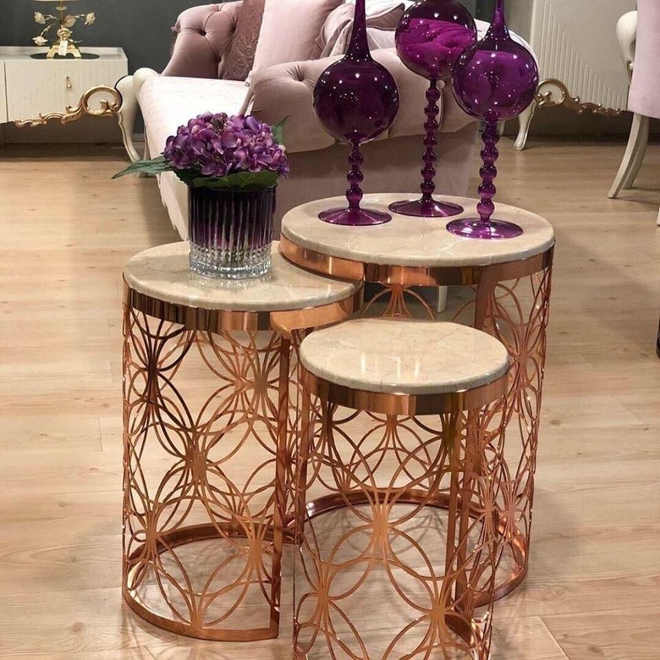 Mesa de centro Zigon de oro rosa mesa de centro de 3 lu hecha en membrana de pavo moderno hogar rico modelos de moda decoración metal