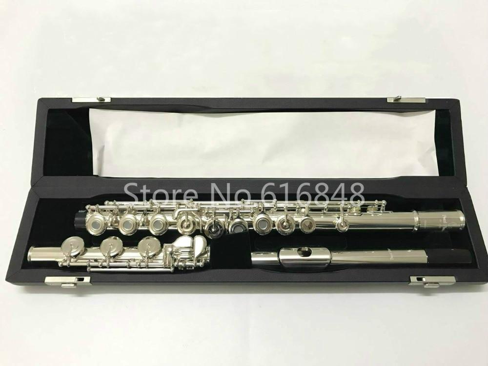 Pérola flauta PF-505 rbe c tune flauta de alta qualidade 17 chave buraco aberto banhado a prata marca instrumento musical nova flauta com caso
