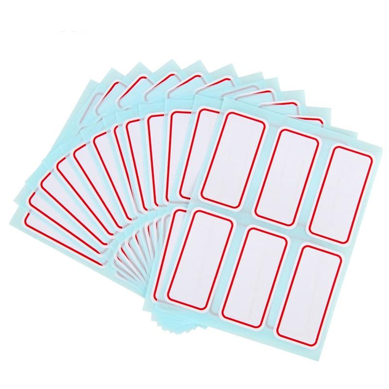 72 pegatinas unids/lote 25X53mm autoadhesivas blancas etiqueta autoadhesiva nombre Número nota en blanco usos múltiples para estudiantes y tiendas
