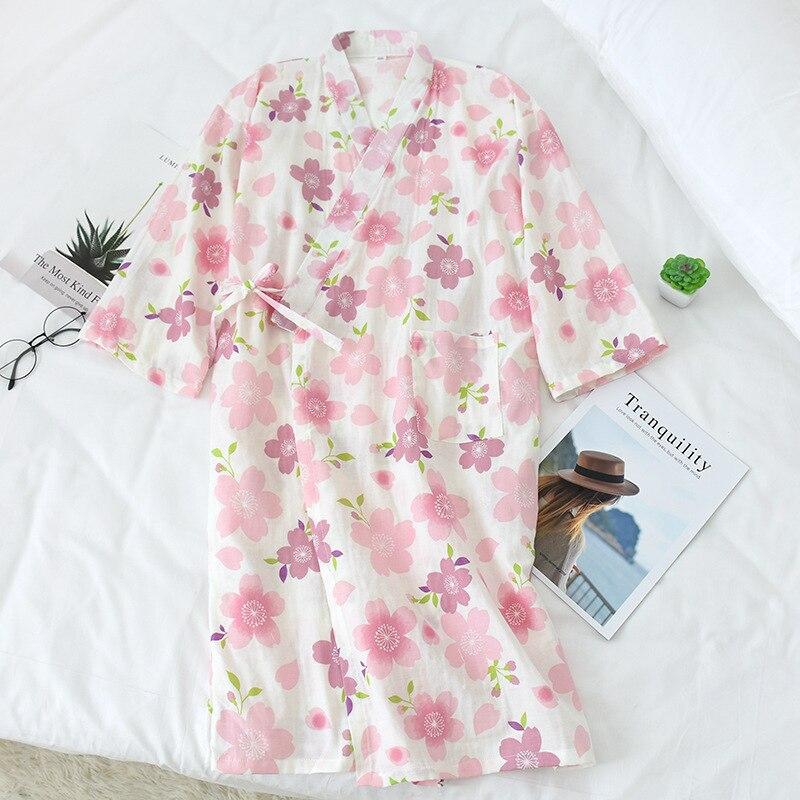 Las mujeres de algodón corta noche Batas Floral impresión Kimono, traje de baño Sexy fina bata de dama de honor traje de moda vestido