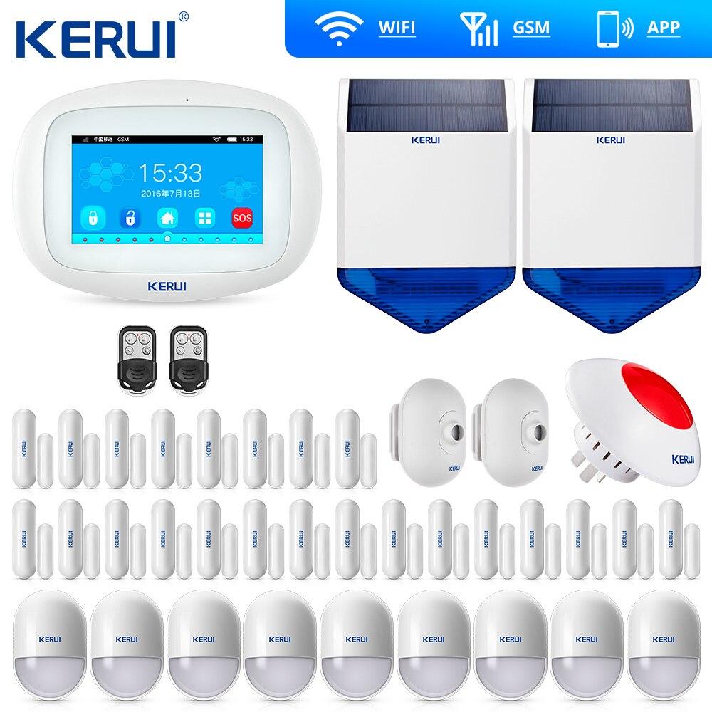 KERUI K52 4.3 Inch Touch Screen  Wireless Security Alarm WIFI GSM System APP Control Keypad Solar Siren