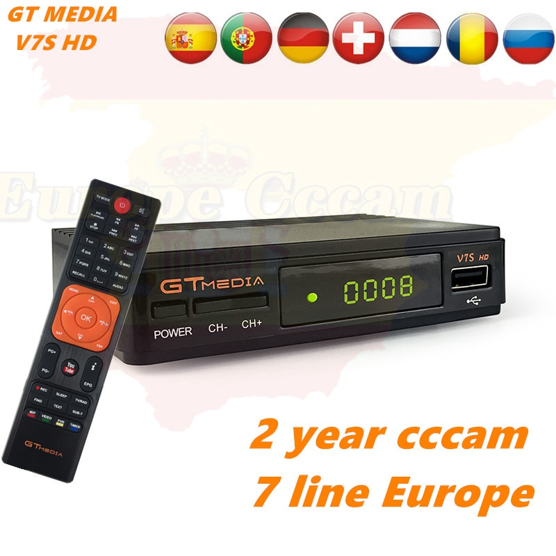 GTMEDIA-Receptor satélite V7S HD, DVB-S2 de televisión Digital con USB, wi-fi integrado, Freesat, cccam de 2 años, Portugal, Polonia e Italia
