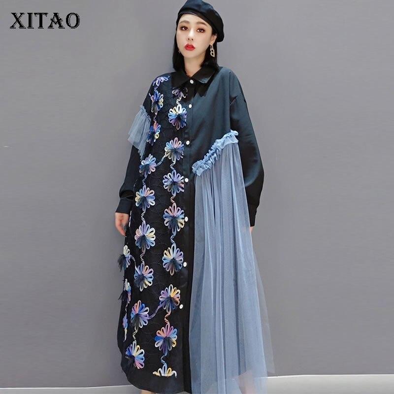 XITAO Patchwork Mesh Irregular Dress Women Clothes 2021 Summer New Polo Collar Long Sleeve Plus Size Dresses ZP2821