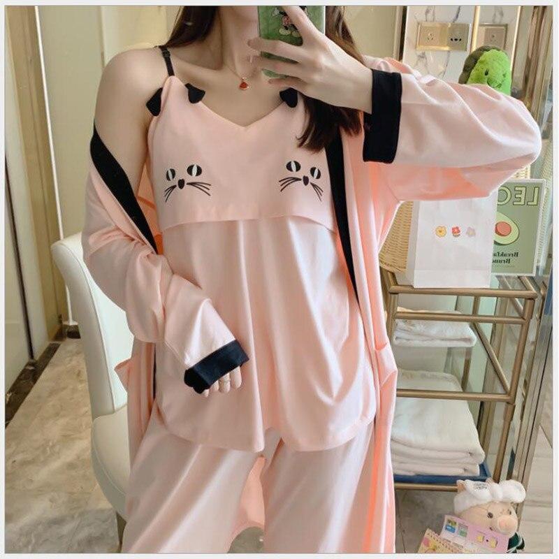 3 unids/set de maternidad de lactancia de algodón dulce Pregancy ropa de dormir Lounge mujeres maternidad ropa de lactancia Conjunto de pijama X105