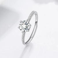 classic six claw simulation moissan diamond ring for women jewelry fashion couples wedding party anniversary ring accessories