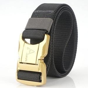2020 new aluminum alloy tactical belt quick release buckle metal aluminum alloy unisex sports belt soft nylon 125cm adjustable