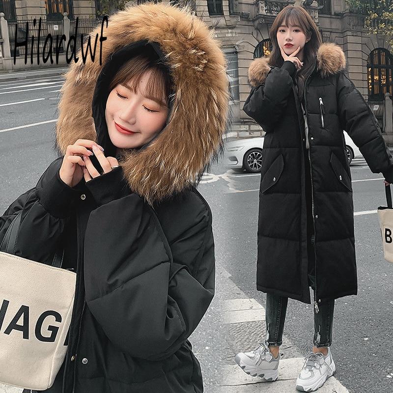 Hilardwf القطن المرأة طويلة الدافئة 2021 جديد أسفل سترة كبيرة طوق مع مقنعين الكورية نمط مبطن فضفاض معطف بركة (سترة من الفراء بقبعة للقطب الشمالي)