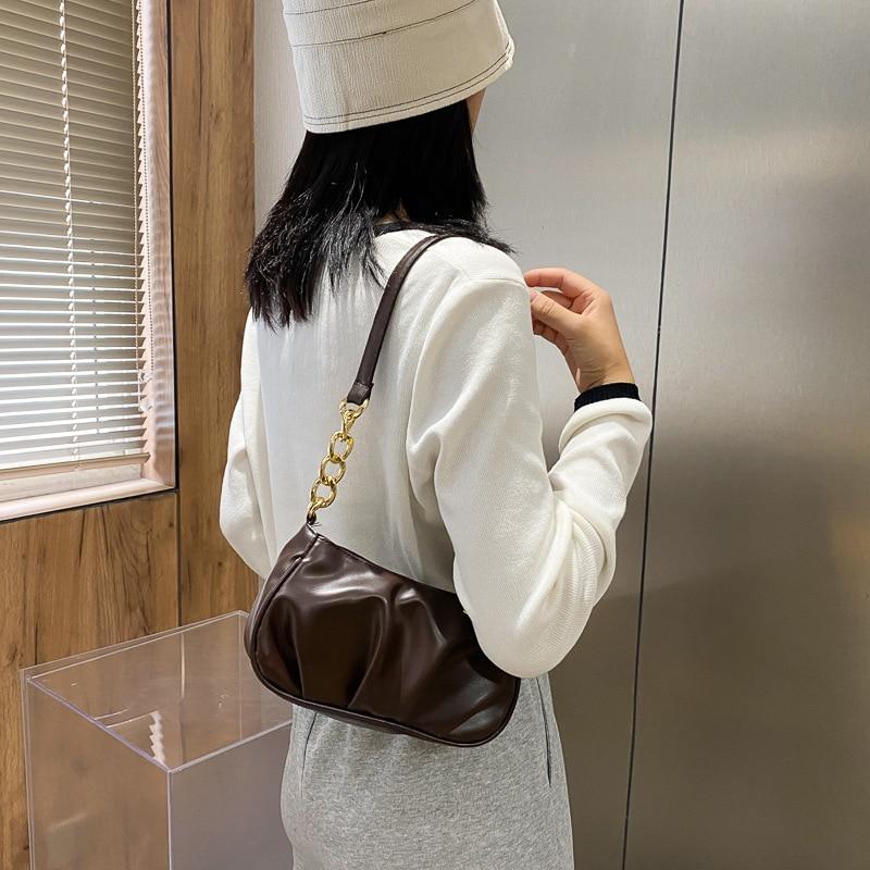 Elegant Armpit Sling Designer Handbags Women PU Leather Tote Shoulder Bags Simple Messenger for 202