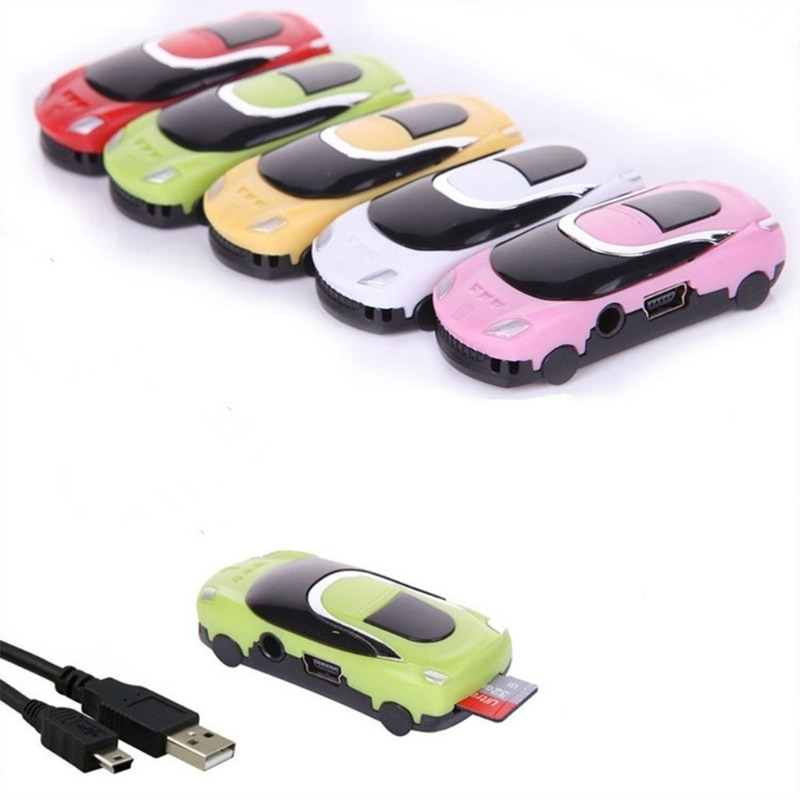 MP3 Player Mini Car Style USB Digital Music Players Support Micro SD TF Card Portable Cute Gift In s