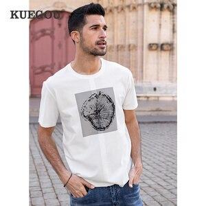 KUEGOU Streetwear Clothing Men's T-shirt Short Sleeve Fashion Stump Print Tshirt Summer Vintage Patchwork Top Plus Size ZT-90069