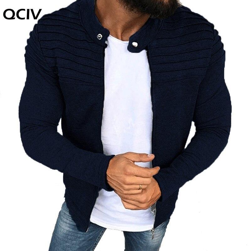 Sports Casual Men Jacket Men's Autumn Pleats Slim Stripe Fit Jacket Zipper Long Sleeve Coat Cardigan Coat  - buy with discount