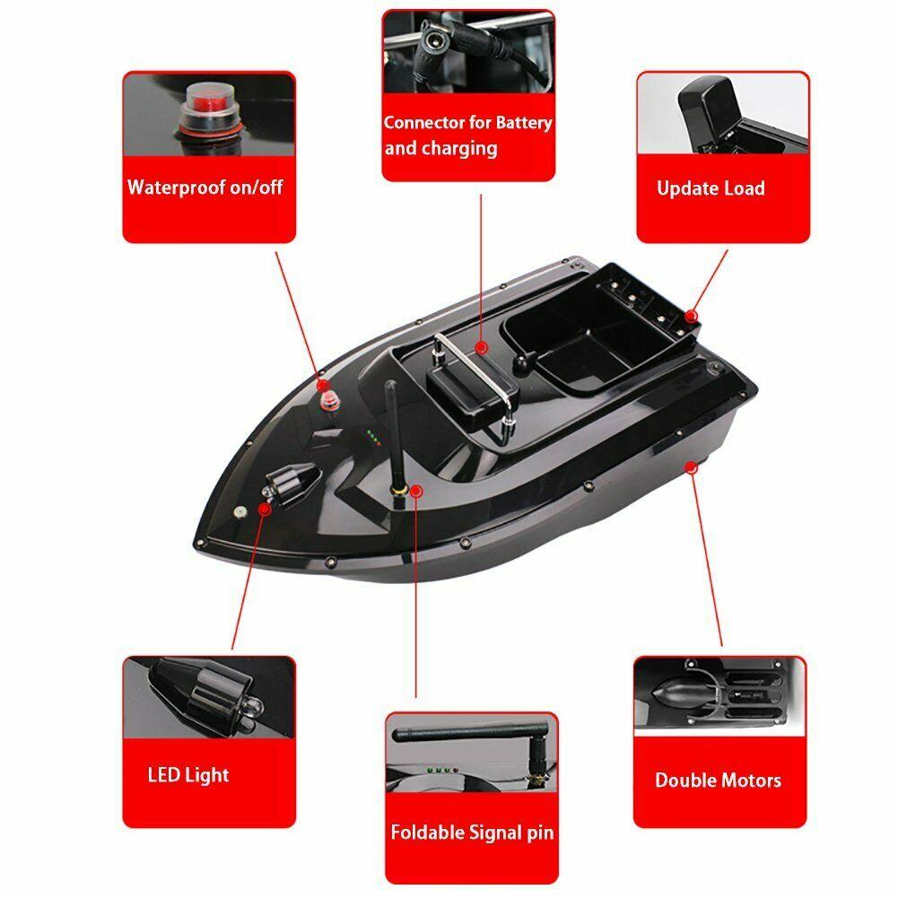 VERY100 500M Wireless RC Fishing Bait Boat 2 Hoppers Hook/Bait post 2 Motors ,LCD GPS Sonar Fishfinder,Handbag,Batteries Angling enlarge