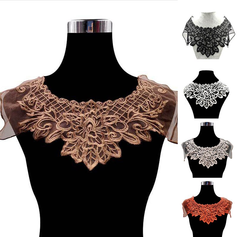 Organza de café de luxo bordado material de renda fabric vestido guipure colarinho guarnição applique costura enfeites e enfeites