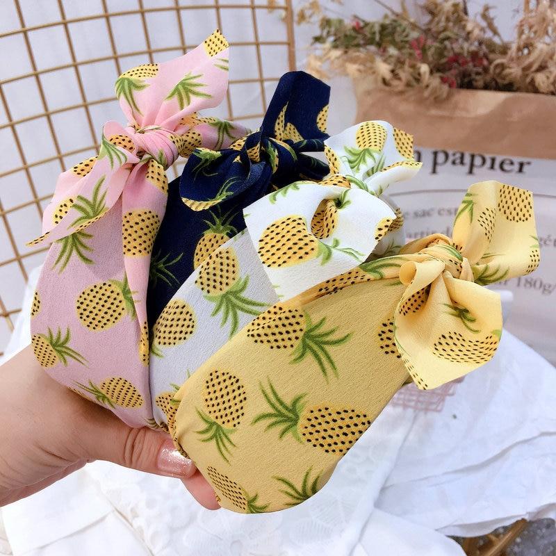 Japan Korea Style Printing Fruit Pineapple Rabbit Ears Width Simple Headbands for Girl Women Fashion Hair Accessories