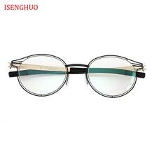 ISENGHUO No Screw Eyeglasses Frames Hollow Glasses Eyewear MEN Women Spectacle Frame Gafas de Grau