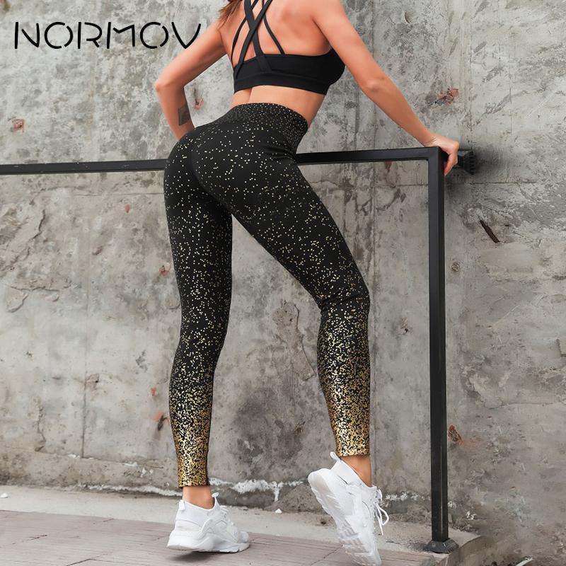 NORMOV, venta al por mayor, pantalones de Yoga estampados, Fitness, Leggings transpirables para mujer, Leggings delgados de cadera