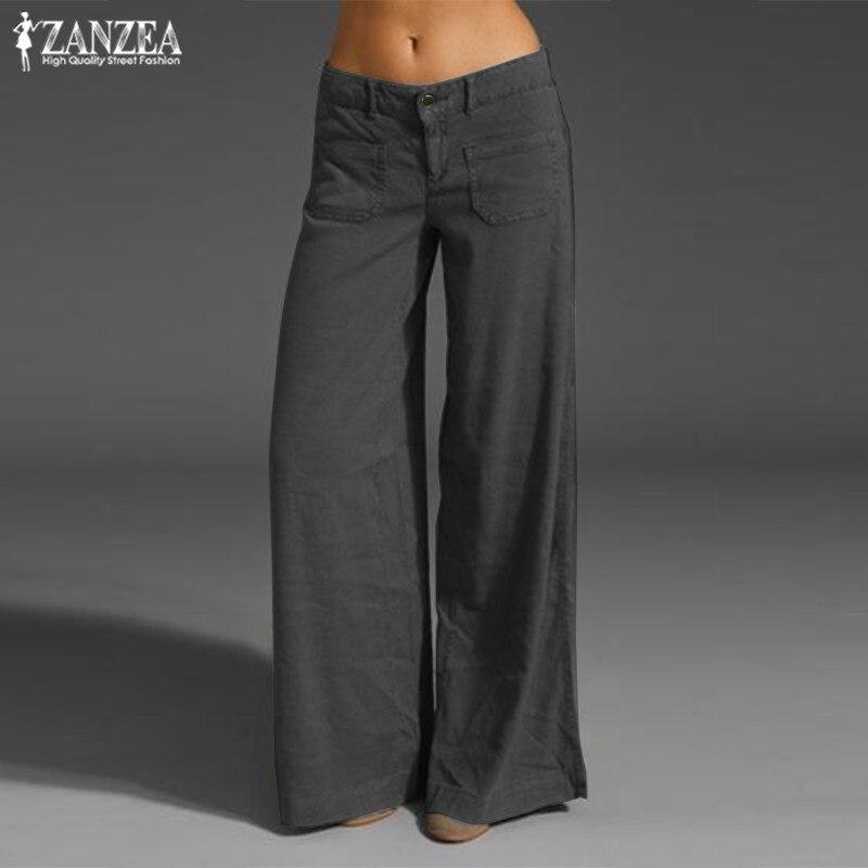 ZANZEA pantalones de verano a la moda, pantalones de pierna ancha para mujer, caftán, botón sólido, frontal, nabo informal, pantalón sobredimensionado de nabo, 2020