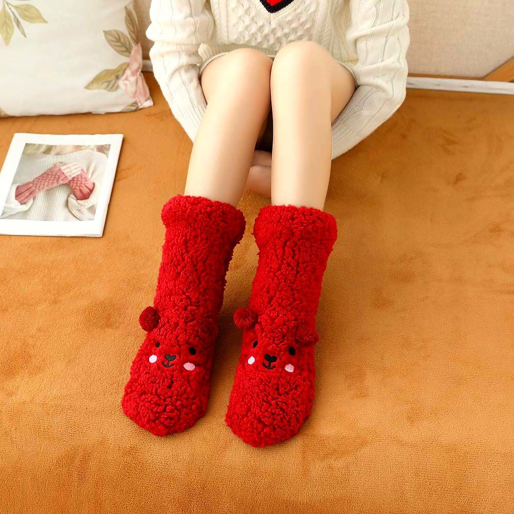 Winter Warm Fluffy Socks Floor Socks Coral Fleece Cartoon Sheep Funny Non-slip Socks Cute Soft Elastic Coral Velvet Hosiery
