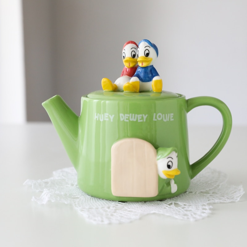 Disney Donald and Daisy Fresh Green Cute Tea Pot with Tea Strainer Cute Pot Home Office Girl Boy Cups Collection Cup Gifts