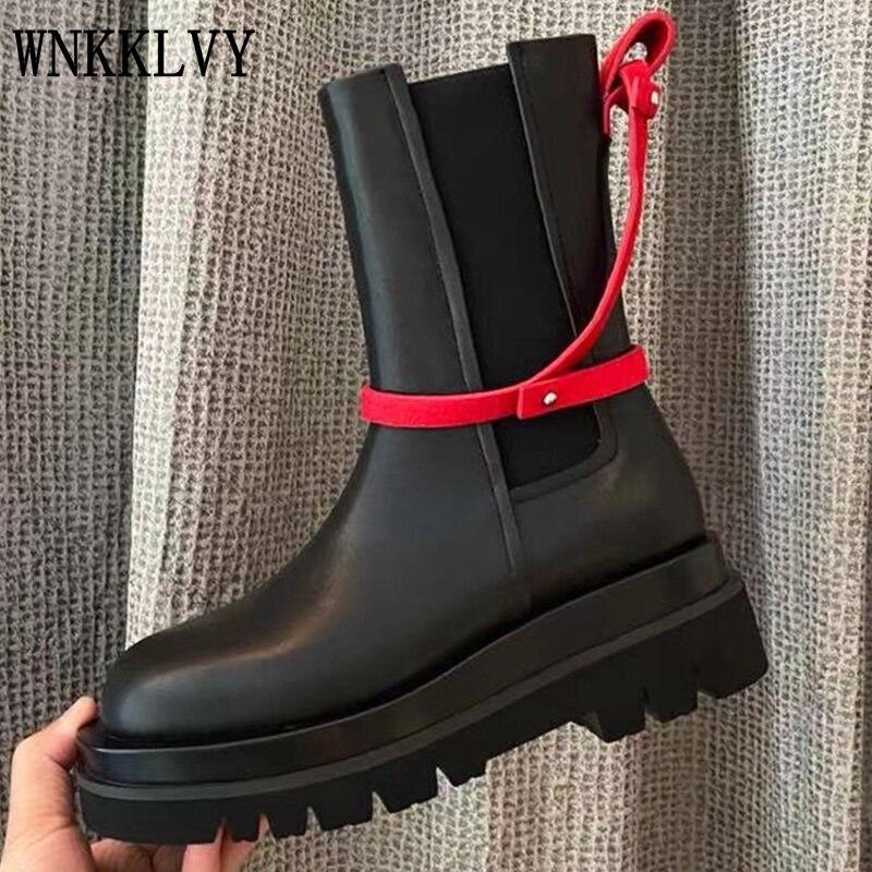 2021 الخريف الشتاء منتصف العجل أحذية النساء جلد طبيعي سميكة القاع موضة مارتن الأحذية كل مباراة النمط البريطاني أحذية بوت قصيرة
