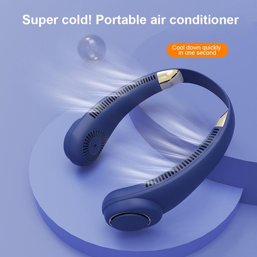 الرقبة الكهربائية مروحة الطاقة شاشة ديجيتال ventilador Usb معلق الرقبة قابلة للشحن المحمولة تكييف هواء صغير الخالية من الشفرة