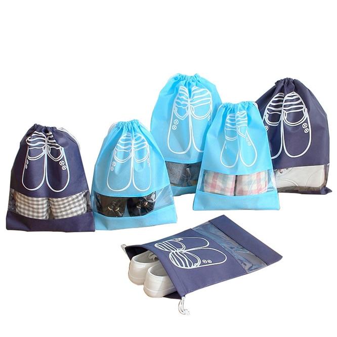 100pcs/lot  Waterproof Package Shoe Pocket storage organize bag Non-woven fabric Draw pocket Drawstring Bags Toiletry Bag Case enlarge