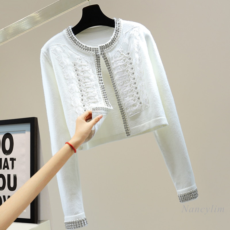 Beads Diamond-Embedded Cardigan Women Long Sleeve Small Coat 2021 Autumn Korean Fashion Lace Short Sweater Coat Lady Chic Top enlarge