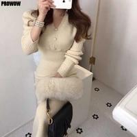 french one piece dress women elegant knitted sweater dresses autumn winter 2020 new korean v neck slim long sleeve dress female