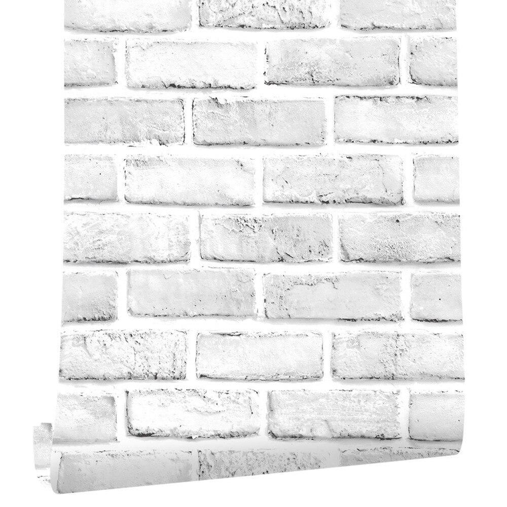 10 м настенная бумага пвх белая кирпичная Настенная Наклейка бумажная самоклеящаяся мебель ванная комната гостиная кухня Настенная бумага ...