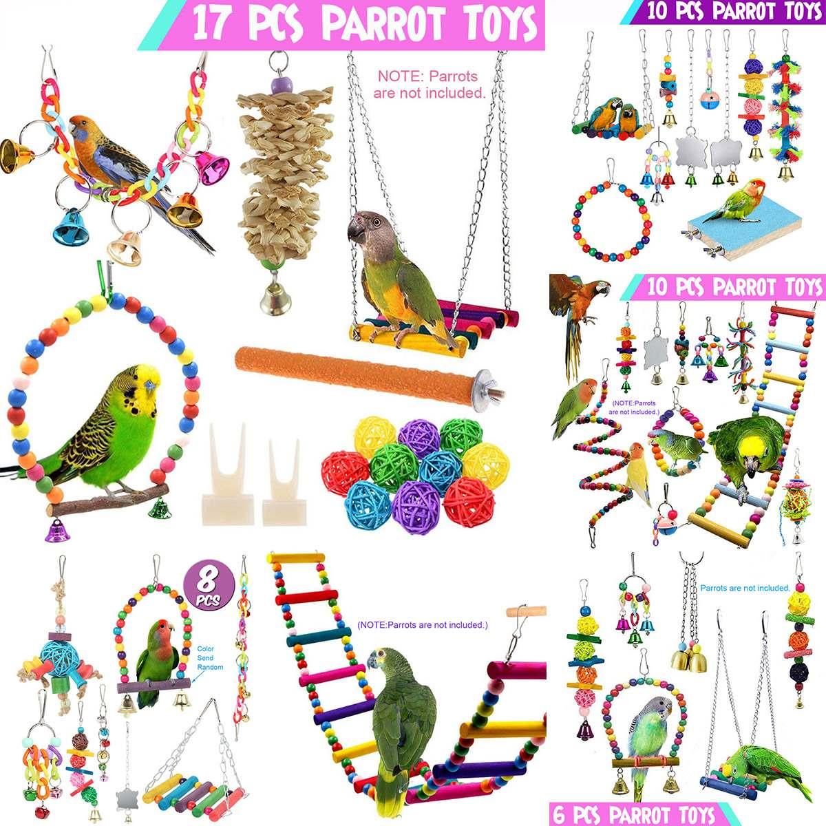 6/8/10/17PCS Pet Parrot Hanging Toy Chewing Bite Rattan Balls Grass Swing Bell Bird Parakeet Cage Ac