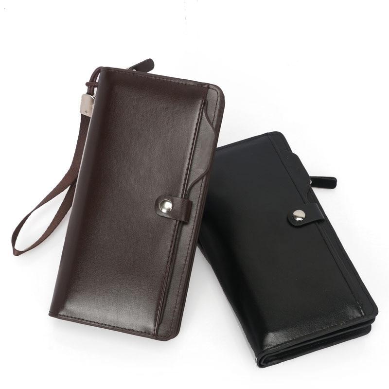2019 Luxury Brand Men Wallets Long Men Purse Wallet Male Clutch Leather Zipper Wallet Men Business Male Coin Purse Card Holder недорого