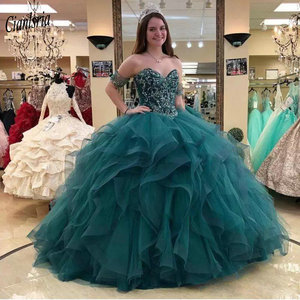 Dark Green Gorgeous Short Sleeves Ruffles Ball Gown Quinceanera Dresses Sweetheart Beading Crystals Sweet 16 Prom Party Dress