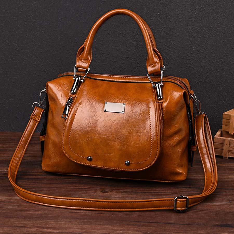Fashion Trends Handbags Oil Wax Leather Ladies Shoulder Luggage Retro Ladies Crossbody Bags Handbag