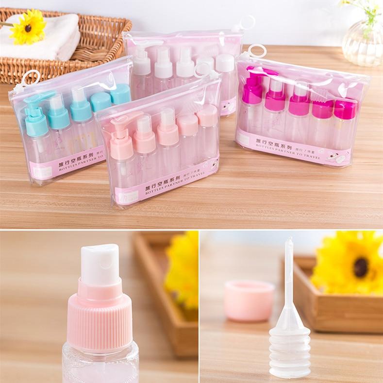 1 Set Portable Spray Refillable Bottles Kit Plastic Face Cream Lotion Makeup Container Home Travel Empty Spray Refill Bottles