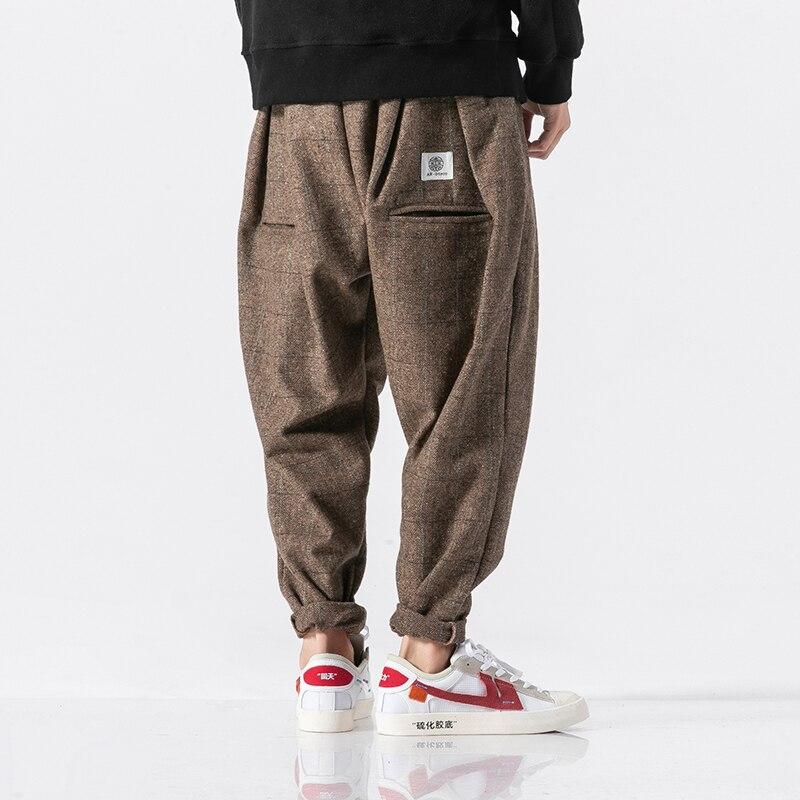 3 اللون الرجال الشتاء سميكة الدافئة الصوفية عادية منقوشة سراويل نسائية الذكور فضفاضة موضة بنطلون الشارع الشهير الهيب هوب بانت حجم كبير M-5XL