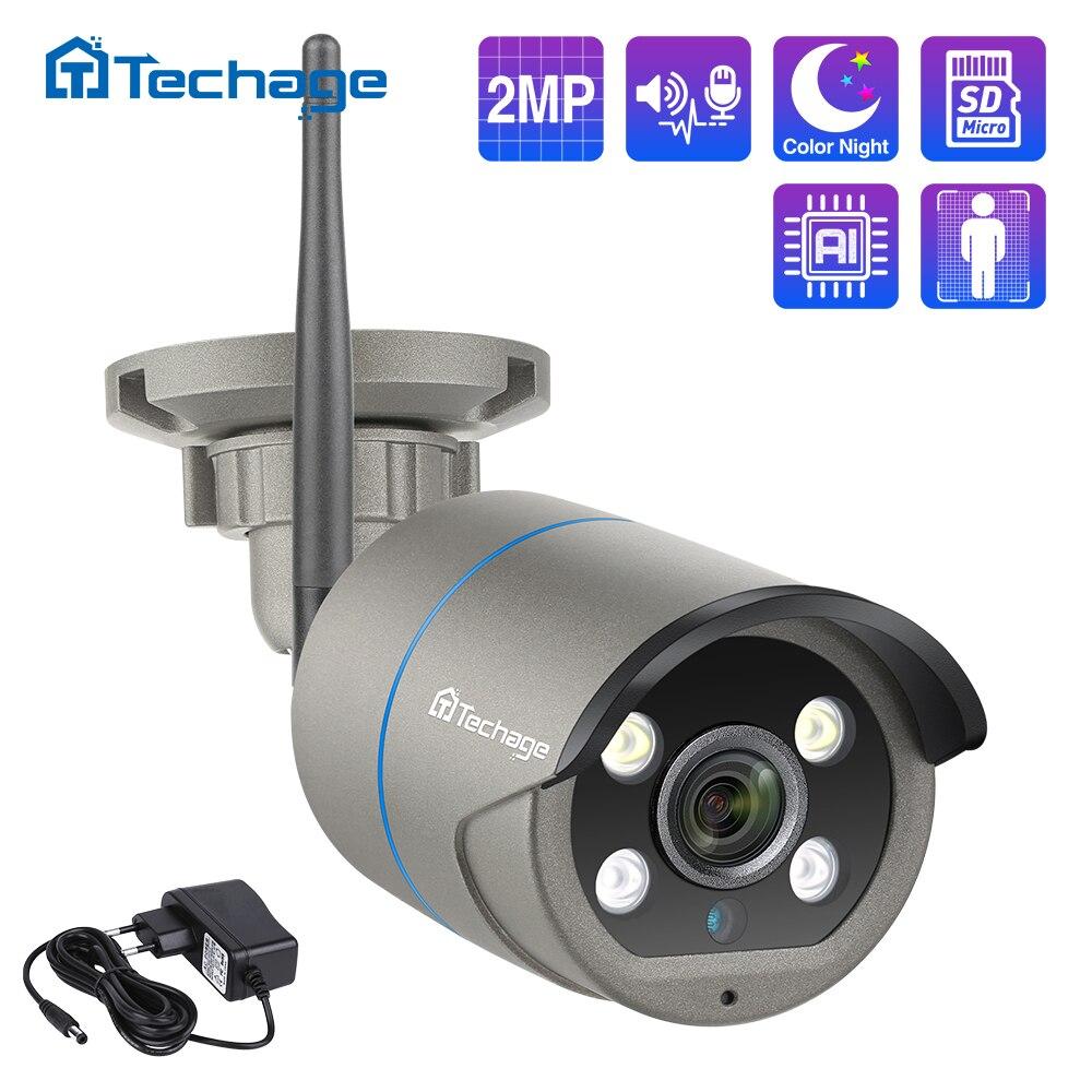 Techage 1080P 2MP كاميرا لا سلكية الأمن الصوت واي فاي كاميرا IP الأشعة تحت الحمراء في الهواء الطلق مقاوم للماء P2P TF بطاقة CCTV المراقبة بالفيديو