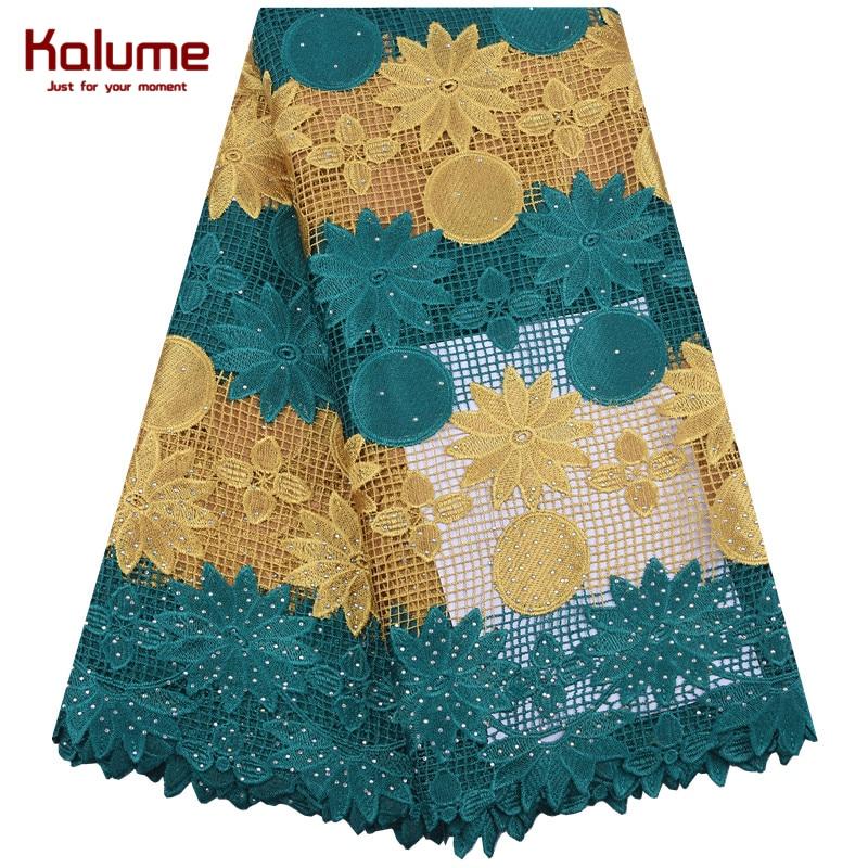 Kalume mais novo africano tecido de renda amarelo nigeriano guipure cabo renda com pedras solúvel em água cordão laços para festa f1847