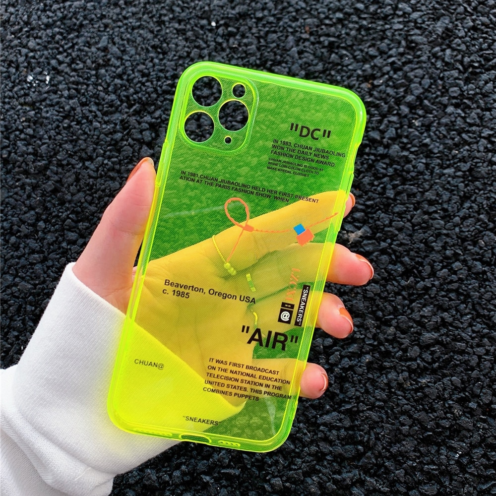 Ins fluorescencia Sport marca blanca etiqueta teléfono caso para iPhone 11 Pro X XS MAX XR 7 8 6 Plus lindo claro suave silicona cubierta Coque