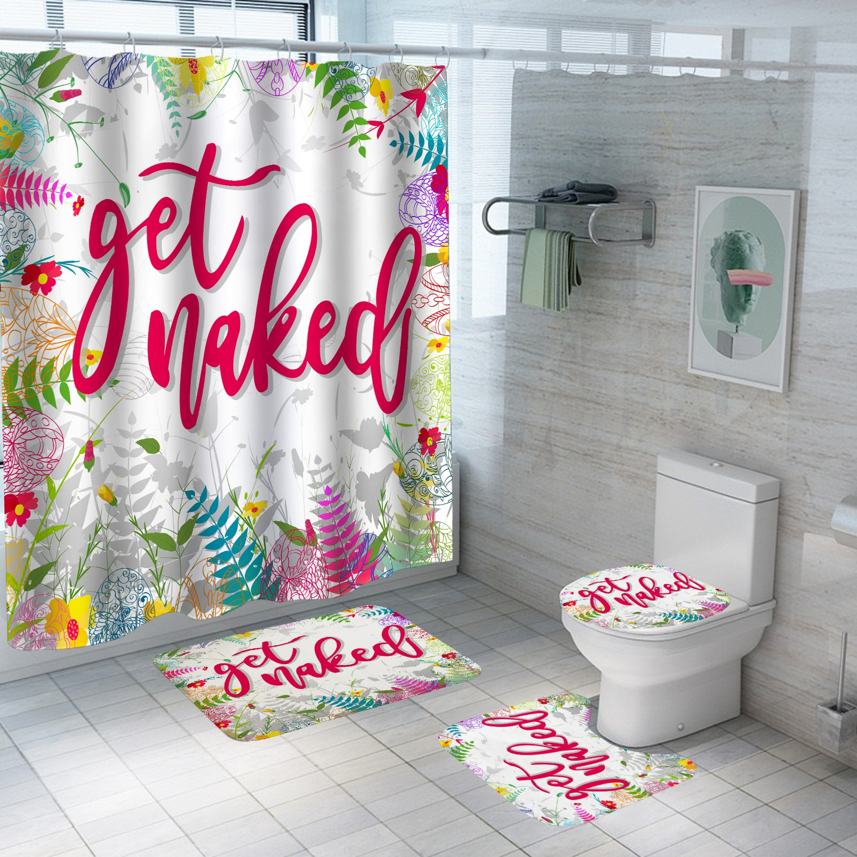 christmas tree snowfield patterned bath shower curtain Bathroom Curtain Waterproof Polyester Shower Curtain Bathroom with Hook Shower Curtain Bathroom Accessories Bath Mat Toilet Mat